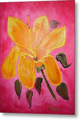 Metal Print featuring the painting Yellow Flower by Barbara Hayes