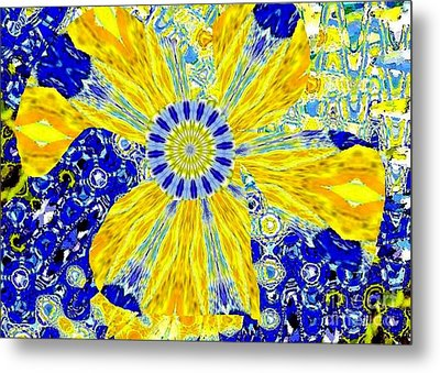 Yellow Flower On Blue Metal Print by Navo Art