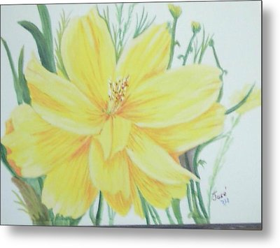 Metal Print featuring the painting Yellow Garden Flower by Hilda and Jose Garrancho