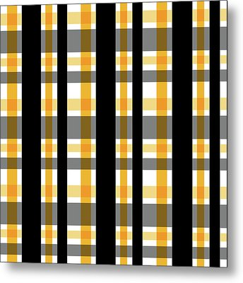 Metal Print featuring the photograph Yellow Gold And Black Plaid Striped Pattern Vrsn 1 by Shelley Neff