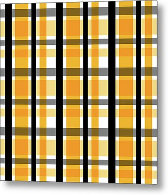 Metal Print featuring the photograph Yellow Gold And Black Plaid Striped Pattern Vrsn 2 by Shelley Neff
