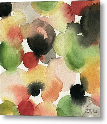 Yellow Green Orange Black Abstract Watercolor Metal Print by Beverly Brown