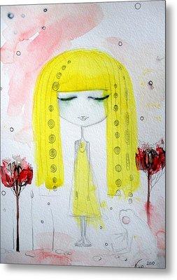 Yellow Hair Girl  Metal Print