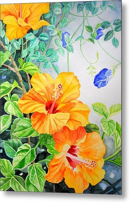 Yellow Hibiscus And Blue Clitoria Metal Print by Vishwajyoti Mohrhoff