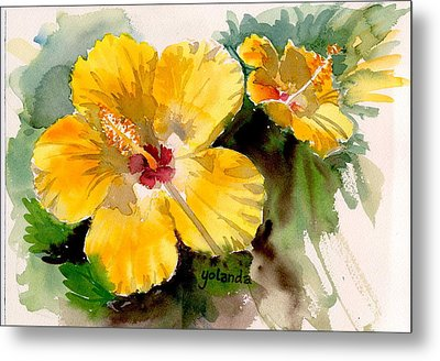 Metal Print featuring the painting Yellow Hibiscus by Yolanda Koh