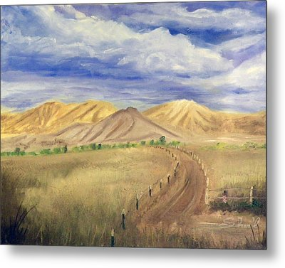 Metal Print featuring the painting Yellow Hills Of Jensen by Sherril Porter