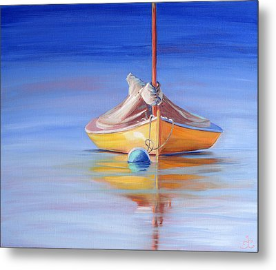 Yellow Hull Sailboat Iv Metal Print by Trina Teele