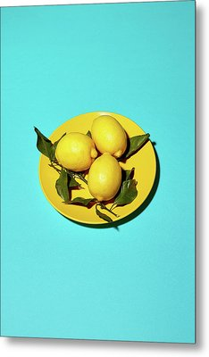 Yellow Lemons On Cyan Metal Print by Oleg Cherneikin