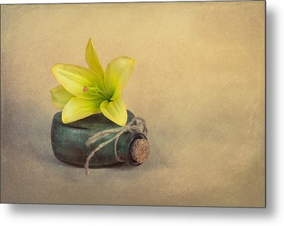 Yellow Lily And Green Bottle Metal Print by Tom Mc Nemar