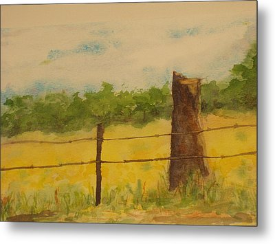 Metal Print featuring the painting Yellow Meadow  by Vicki  Housel