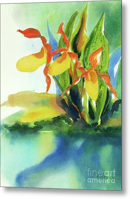 Metal Print featuring the painting Yellow Moccasin Flowers by Kathy Braud