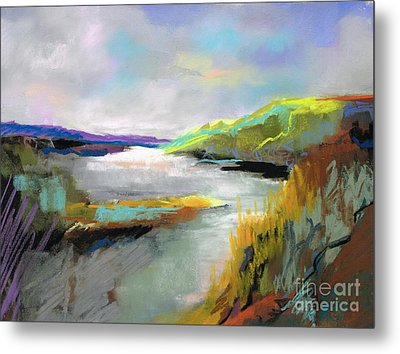 Metal Print featuring the painting Yellow Mountain by Frances Marino