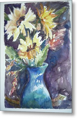 Yellow Mums Metal Print by Dorothy Herron