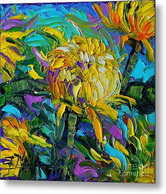 Yellow Mums Metal Print by Mona Edulesco