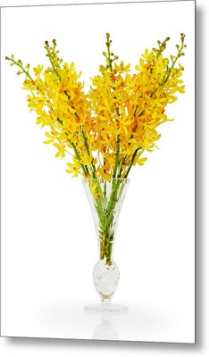 Yellow Orchid In Crystal Vase Metal Print by Atiketta Sangasaeng