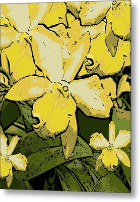 Yellow Orchids Woodcut Metal Print by Ann Tracy