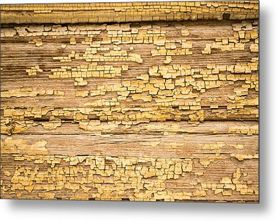 Yellow Painted Aged Wood Metal Print by John Williams