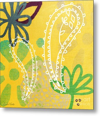 Yellow Paisley Garden Metal Print by Linda Woods