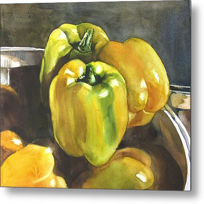 Yellow Peppers Metal Print by Alfred Ng