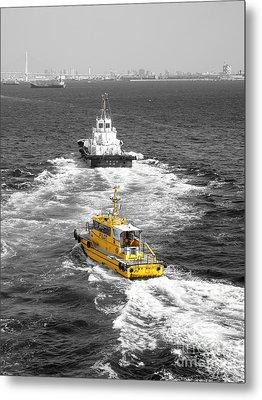 Yellow Pilot Yokohama Port Metal Print