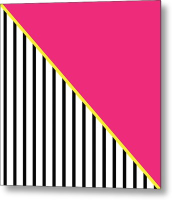 Yellow Pink And Black Geometric 2 Metal Print by Linda Woods