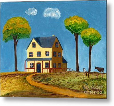 Yellow Prairie House Metal Print