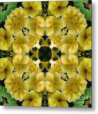 Metal Print featuring the digital art Yellow Primrose Kaleidoscope by Smilin Eyes  Treasures