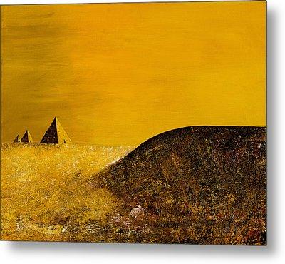 Yellow Pyramid Metal Print by Mayhem Mediums
