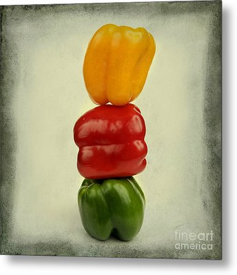 Yellow Red And Green Bell Pepper Metal Print by Bernard Jaubert