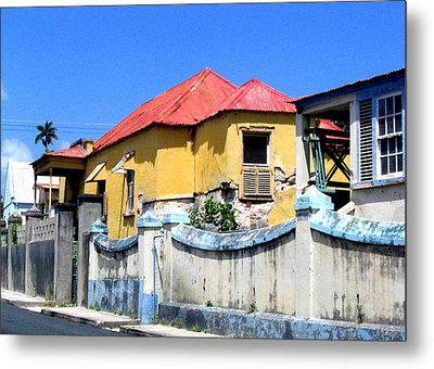 Yellow Red House Metal Print by Barbara Marcus