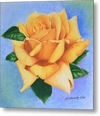 Metal Print featuring the drawing Yellow Rose by Marna Edwards Flavell