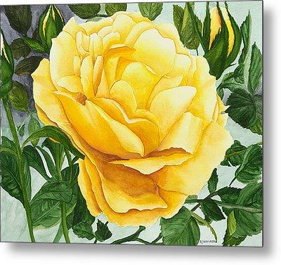 Yellow Rose Metal Print by Robert Thomaston
