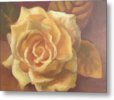 Yellow Rose Metal Print by Sharon Weaver
