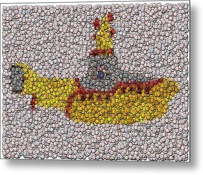 Yellow Submarine Bottle Cap Mosaic Metal Print by Paul Van Scott