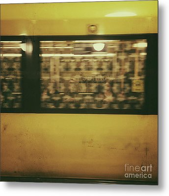 Yellow Subway Train Metal Print