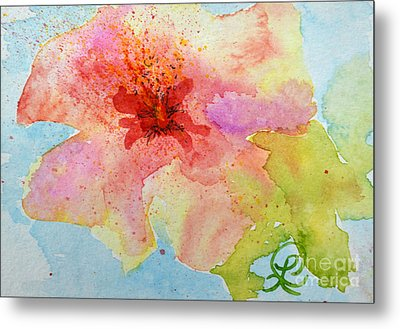 Yellow Tinged Hibiscus Metal Print