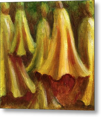 Yellow Trumpet Flowers Metal Print by Patricia Halstead