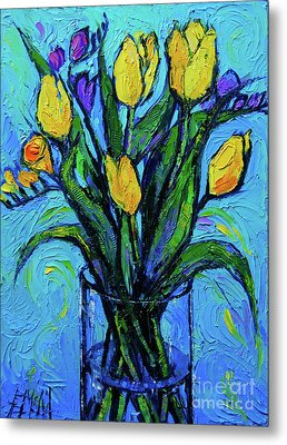 Yellow Tulips And Freesia Metal Print by Mona Edulesco