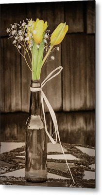Metal Print featuring the photograph Yellow Tulips In Glass Bottle Sepia by Terry DeLuco