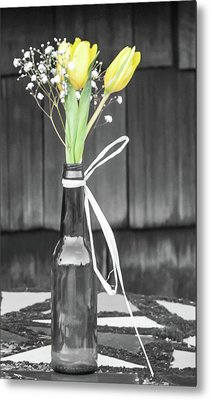 Metal Print featuring the photograph Yellow Tulips In Glass Bottle by Terry DeLuco