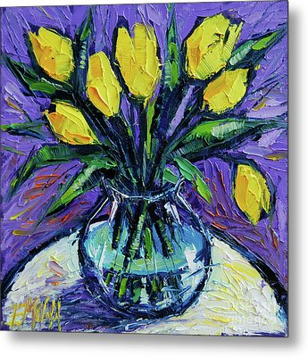 Yellow Tulips On White Table - Impasto Etude Metal Print by Mona Edulesco