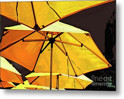 Yellow Umbrellas Metal Print