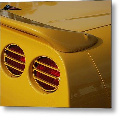 Yellow Vette Lights Metal Print by Rob Hans