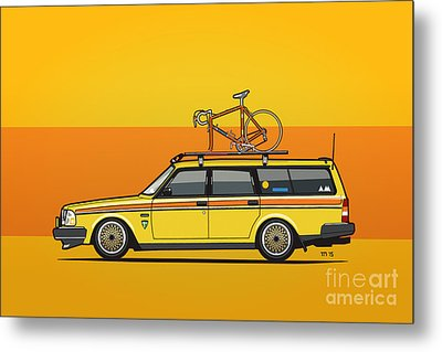 Yellow Volvo 245 Wagon With Roof Rack And Vintage Bicycle Metal Print by Monkey Crisis On Mars