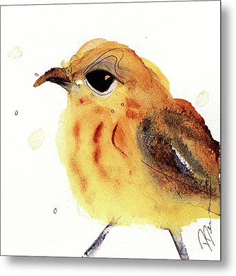 Metal Print featuring the painting Yellow Warbler by Dawn Derman