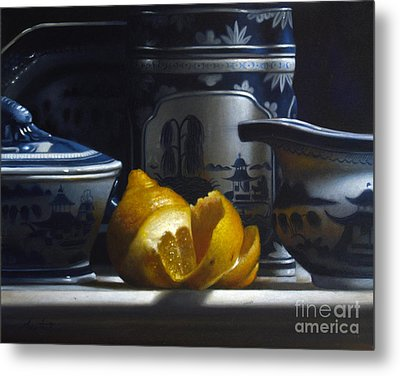 Yellow White Blue Metal Print