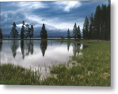 Yellowstone Lake Reflection Metal Print