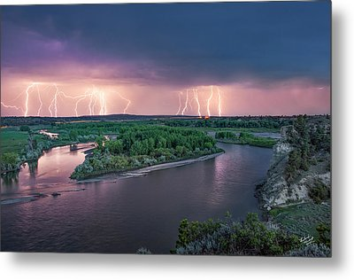 Yellowstone River Lightning Metal Print by Leland D Howard