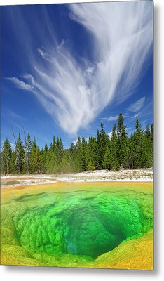 Metal Print featuring the photograph Yellowstone's Morning Glory Pool Pool And Awesome Clouds by Bruce Gourley