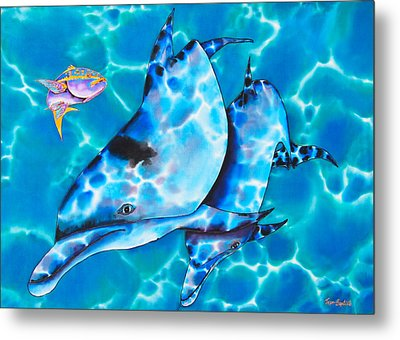 Yellowtail Snapper And  Dolphins Metal Print by Daniel Jean-Baptiste